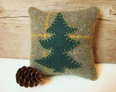 Balsam Fir Pillow / Decorative Pillow / Wool Pillow / Green Pine Tree Pillow / Rustic Cabin Pillow / Small Pillow / 4 Inch Pillow - AwayUpNorth