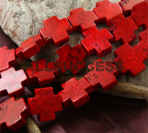 Turquoise cross stone beads, loose strand,red turquoise cross beads 20mm,loose beads strands 15.5 inch