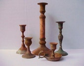 Candle Holders - Set of 5 Aged Brass with Patina - Cottage Shabby Chic