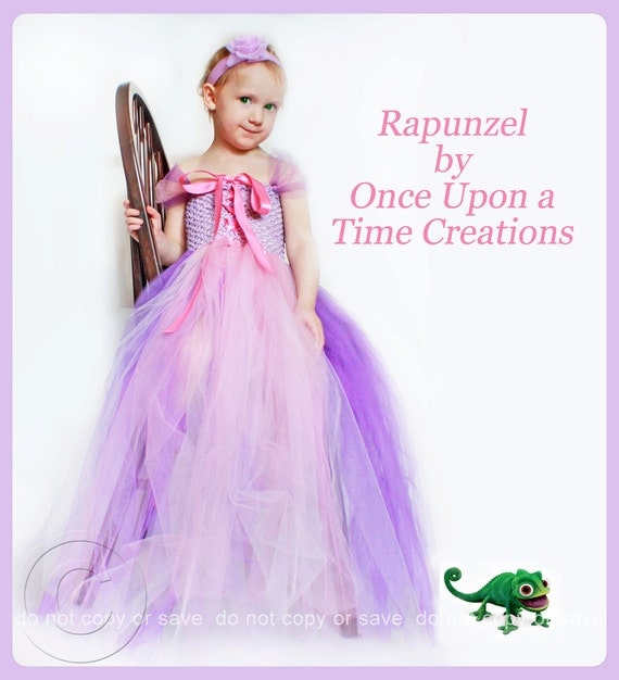 Infant Size Rapunzel Inspired Princess Tutu Dress - Photo Prop, Baby Halloween Costume - Newborn 3 6 9 12 Months - Disney Tangled Inspired