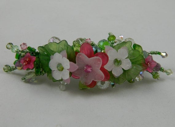 Hair accessory womens jewelry beaded barrett lucite pink and green and white crystals seed beads feminine