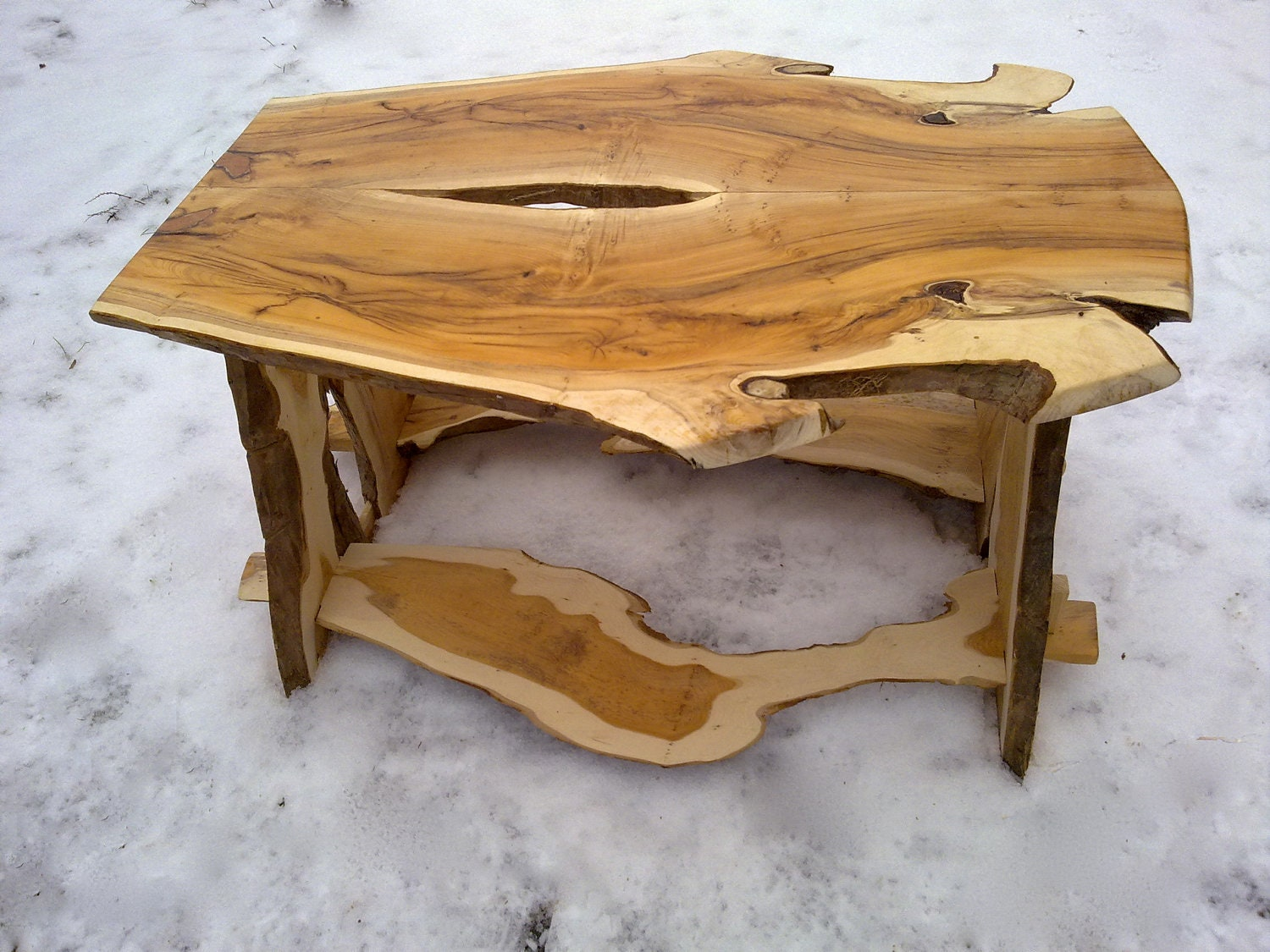 Yew wood coffee table made from bookmatched by benjaminsbarn for Unusual coffee tables