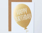 Goil Foil Stamped Balloon Happy Birthday Card - happycactusdesigns