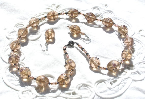 Necklace Lampwork Gold Inda Glass Beads & Free Earrings  .-.  Mind4Design