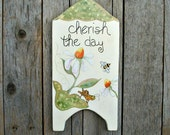 White Daisies. Bumble Bee. Grasshopper. Original Hand Painted Wall Decor for Spring. Cherish the Day