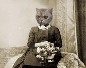 Regan,Cat Print,Anthropomorphic,Whimsical Art,Collage Art,Vintage Cat,Animal Print,Photo Collage,Altered Photo,Creepy Art,Unusual Gift