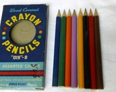 Vintage 1960's Venus Pen & Pencil Corp. Pack of 8 Crayon Pencils NEVER USED