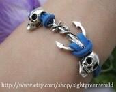 Bracelet-antique silver skull bracelet,kull pandora bracelet,anchor bracelet---ST049