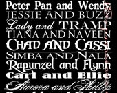 "Disney Couples Personalized Typography Subway Art Print 10"" by 20"""