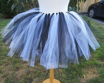 Upcycled Steampunk Clothing - Black and White Tutu (Adjustable) - Tweedle Dee Tweedle Dum - Alice in Wonderland