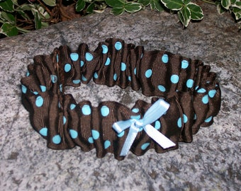 Upcycled Steampunk Clothing - Wedding Garter - Something Blue - Brown with Turquoise Blue Polka Dots and a Mini Blue Bow