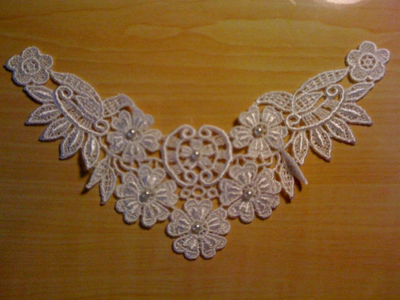 White Flowery Lace Beaded Wedding Sew On Motif A-31 Sale