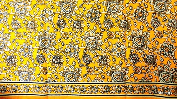 Indian Fabric Cotton Fabric Block Print In Mustard Yellow