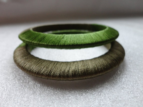 set of 2 thick silk thread wrapped bracelets in hazel and spring green