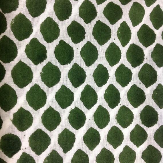 Cotton Fabric - Indian Cotton Fabric  Green Block Print Cotton Fabric