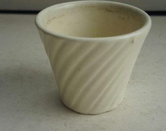 Vintage White Art Pottery Swirl Planter