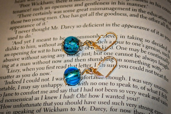 Jane Austen Torquoise and Silver Vintage Glass Bead Earrings:  Jane