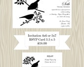 Perched Birds Wedding Invite and RSVP Card package, Printable File