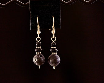 Simple Lava Rock Drop Earrings