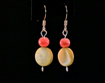 Yellow and Coral Magic Drop Earrings