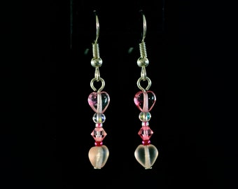Pink Hearts Forever Drop Earrings