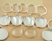 5 KEY Ring Making SETS Blank 30mm ROUND Pendant Trays, Domes, Large Split Rings -Optional Seals (5 or 10). Flat or Domed Glass offered.