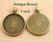 20 Blank 1 inch Pendant Trays  -  Round  Antique BRONZE Settings 25 mm Photos Charms