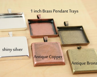 50 Light Weight Brass Square Pendant Tray Bezels, 1 inch, Great for Photo Charm Necklaces