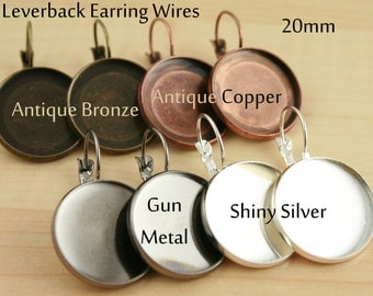 24 ct. 20mm Lever Back Earring Wires - Shiny Silver, Antique Copper, Antique Bronze, Gun Metal Leverback Earrings. 12 pair. Optional Glass.