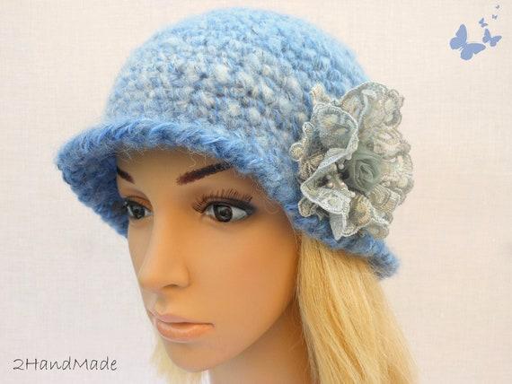 Chunky Crochet Womens Ladies Teens 192O Elegant Flapper Cloche beanie brimmed Hat Blue Gray Mohair Wool Vintage Style