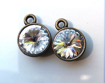 2 Crystal Color 47ss Swarovski Rivoli Rhinestones Mounted in Antiqued Brass settings