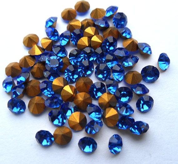 72 Sapphire 29pp Swarovski Round Rhinestones Loose