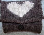 Wool Intarsia Heart Pouch, Purse, Bag, IPhone Bag