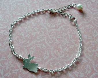 Silver Bunny Bracelet, Kawaii Tiny Rabbit