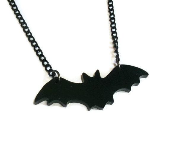 Black Bat Necklace, Laser Cut Acrylic Pendant, Halloween