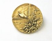 Reserved for A. -Do Not Buy-Vintage Bird Brooch Pin Gold with Birds, Houses and Flowers Round Wedding Faux