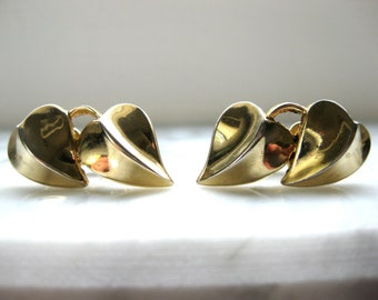 1940s Trifari Earrings Vintage Clip on Gold tone Heart Collectible Designer Jewelry Gift for her