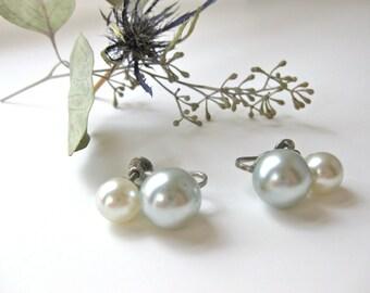 Wedding Earrings Pearl Screw On Wedding Bridal White Pale Blue Gray Faux