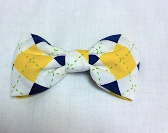 Preppy blue, yellow,  white and green little boys  bow tie, golf bow tie