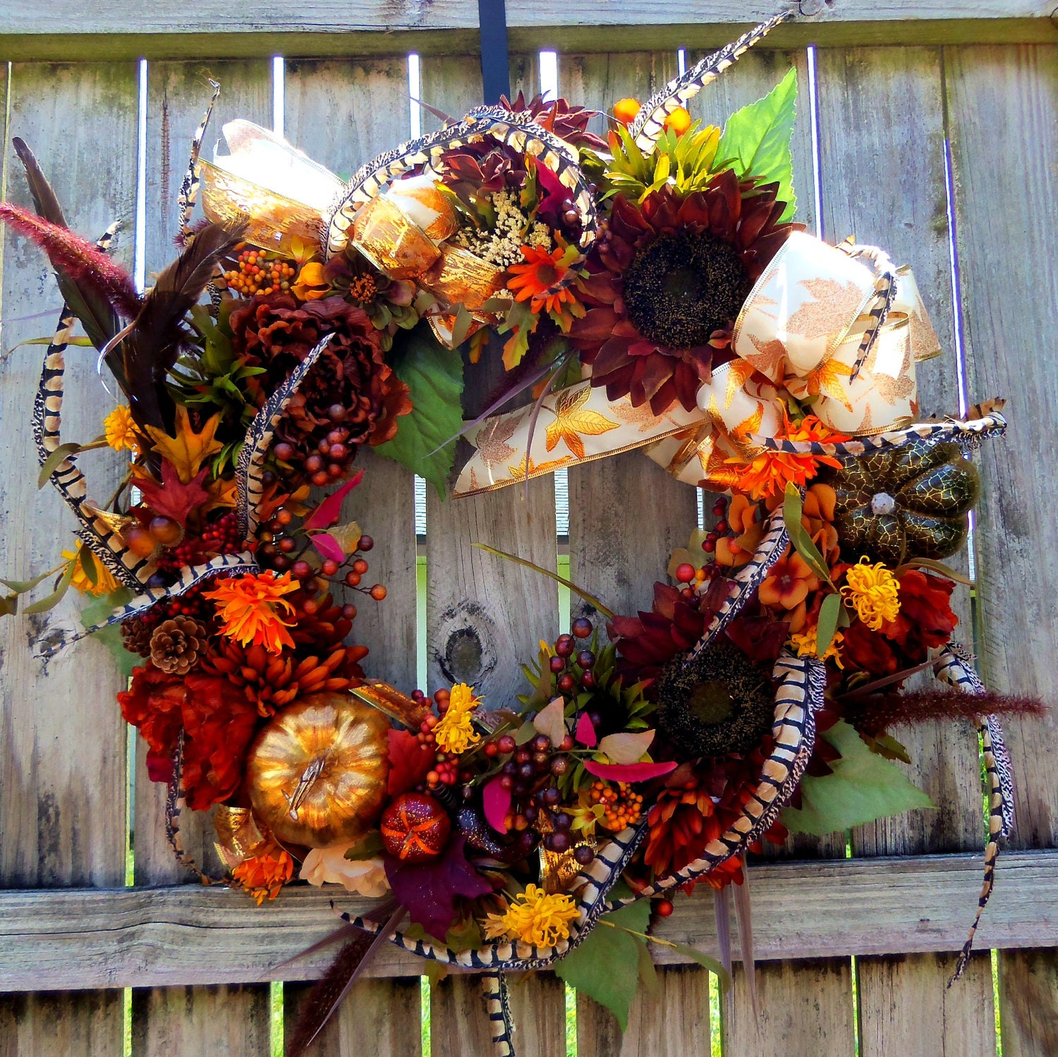 Front door wreath fall wreath autumn wreath sunflowers gourds Fall autumn door wreaths