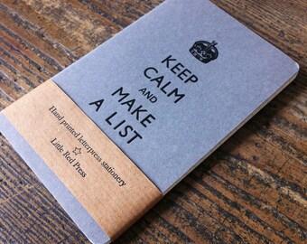 Keep Calm And Make A List  - Letterpress Moleskine Pocket Cahier (grey)
