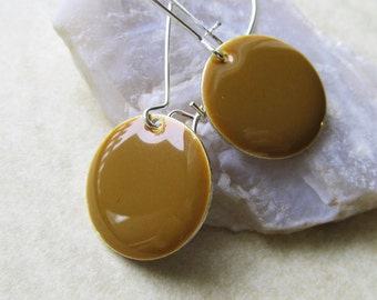 Dangle Drop Earrings - Caramel Brown Epoxy Enamel Circle Discs - Sterling Silver Plated over Brass (F-3)