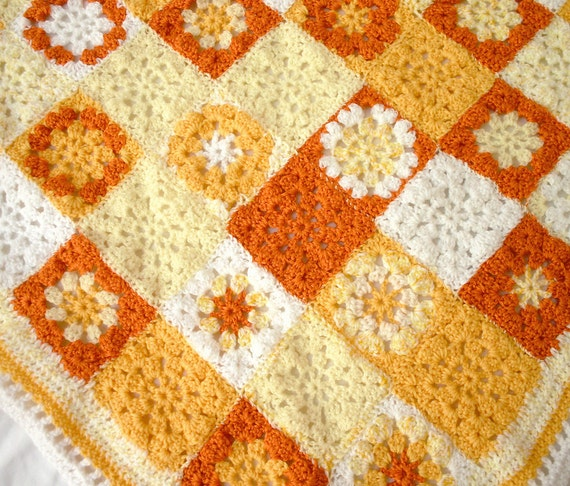 Orange Yellow Crocheted Baby Blanket-  Hand Crochet Granny Square Afghan- Boy or Girl- Ready To Ship