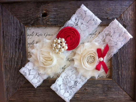 SALE- Red Wedding Garter- Red Vintage Wedding Bridal Garter and Toss Garter- Christmas Wedding Garter-Toss Garter