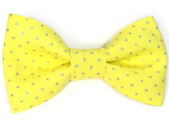 Men Yellow and silver dost bowtie Wedding Kids Clip-On Bow Tie