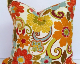 FLORAL PILLOW COVER.Decorative Pillow.Throw Pillow.Turquoise.Orange,Green.Yellow.16x16 inch.Housewares.Pillows.Flowers.Home Decor.Floral