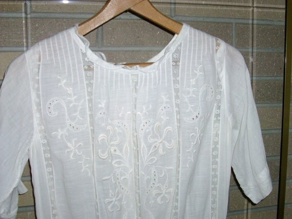 Vintage White And Off White Flower and Lace Dress