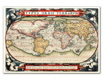 Vintage world map reproduction, Canvas map of the world Print, Luxury Giclee Print, Typus Orbis Terrarum 1570, Educational board, Rare map