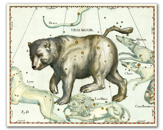 Ursa Major (Big Bear) Constellation, vintage celestial map printed on parchment paper, Nursery art, Nursery room decor. Buy 3 and get 1 FREE