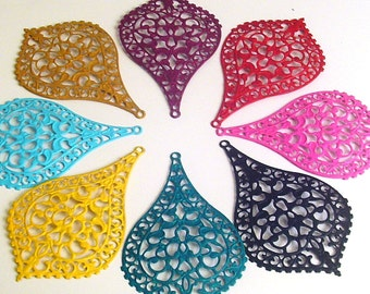 Choose your color 20pc -  Hand painted filligree big bohemian,teardrop filigree,lacy, faux patina,filigree stamping